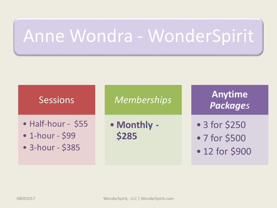 WonderSpirit Pricing Packages